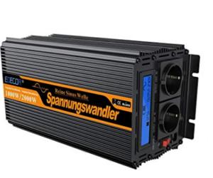 Convertisseur de tension 12 V à 220V EDECOA 1000WNoir
