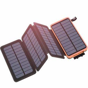 2 chargeur solaire - Chargeur solaire Hiluckey 4 panneaux solaires imperméables - 25000 mAh