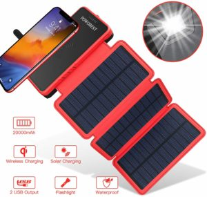 Batterie Solaire à induction - PowoBest 20000mAh